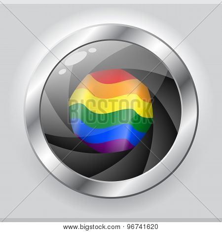 Lgbt Flag In Shiny Camera Focus