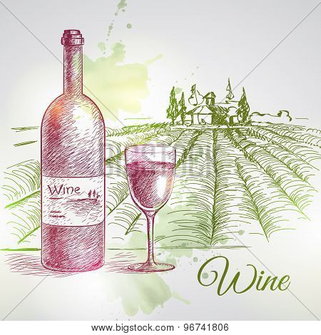 Hand Drawn Vector Wine Background