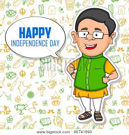 illustration of Indian people wishing Happy Independence Day of India