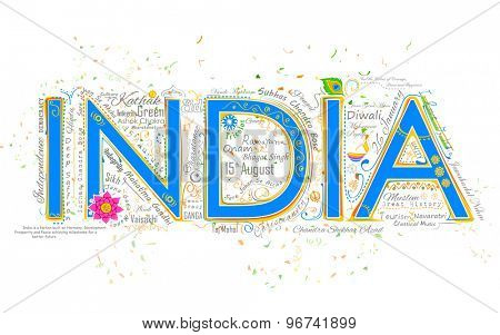illustration of India background typography with related words