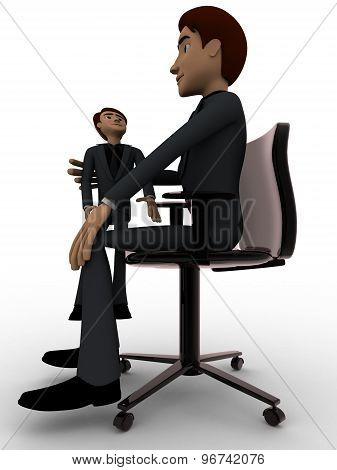 3D Man Play With Small Man Who Is Sitting On Big Man's Knee Concept