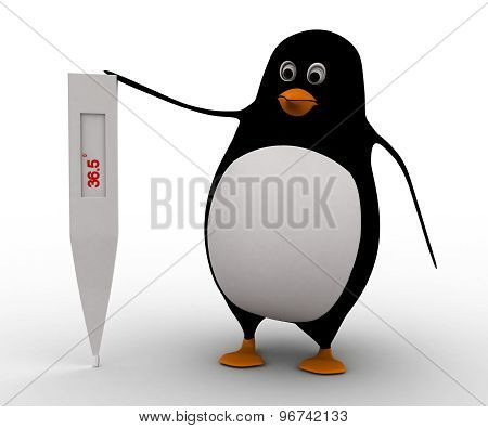 3D Penguin With Big Thermometer Concept