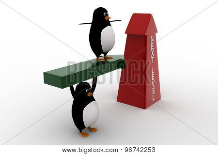 3D Penguin Standing On Arrow And With Upside Next Level Arrow Concept
