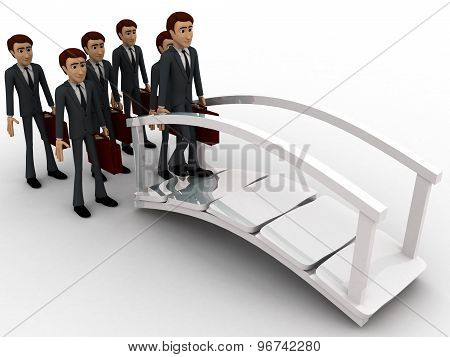 3D Man Going For Work And Crossing Bridge Concept