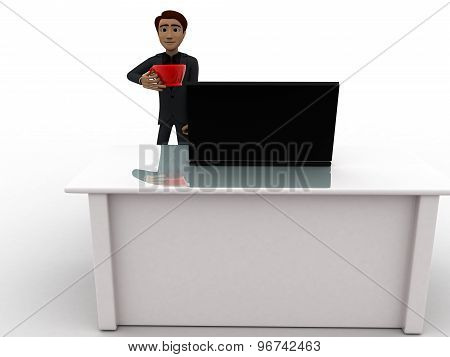 3D Man In Office With Coffee Sup And Working On Laptop Concept