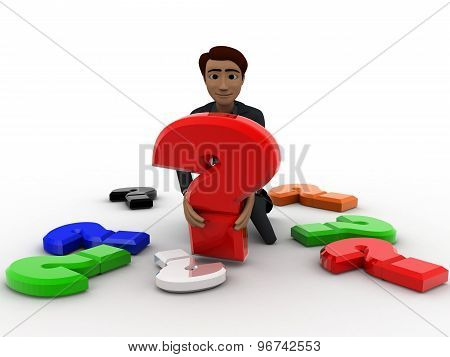 3D Man With Many Colourful Question Mark Concept