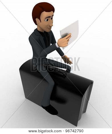 3D Man Sitting On Briefcase And Reading Paper Concept