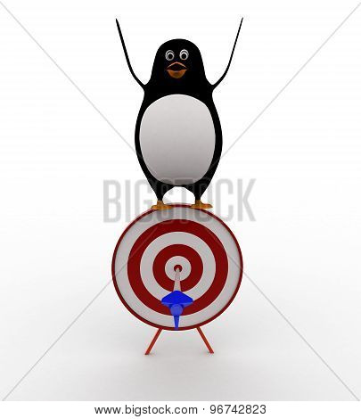 3D Penguin Happy With Aim Arrow Pefectly On Target Board Concept