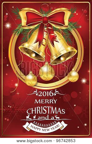 Business Christmas & New Year 2016 celebration greeting card
