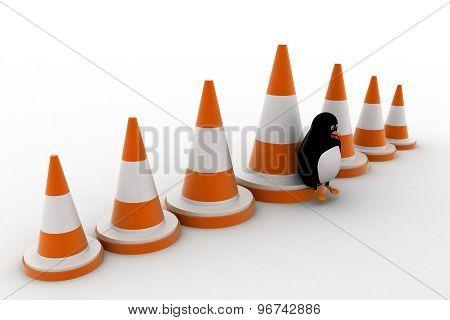 3D Penguin With Big Traffic Cones Concept
