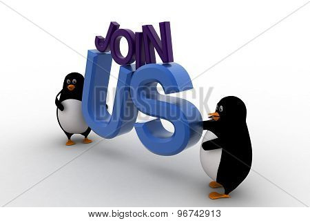 3D Penguin With Join Us Text Concept