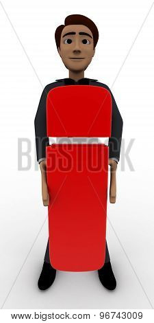 3D Man With Big Red Exclamation Mark Concept