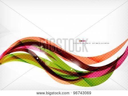 Rainbow orange red brown line design. Modern shiny background