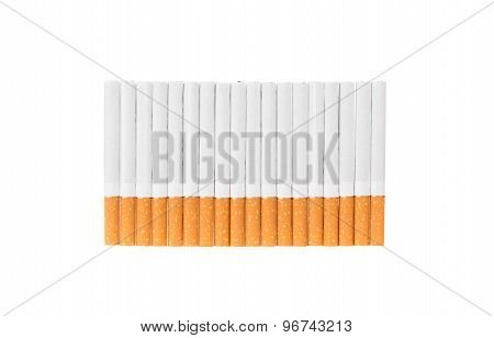 Cigarettes with a brown filter.