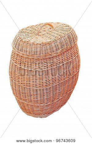 Big Straw Basket With Lid. Isolated.