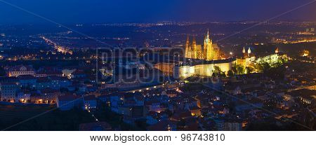 Night Panorama Of Prague, Czech Republic. Castle, St. Vitus Cathedral.