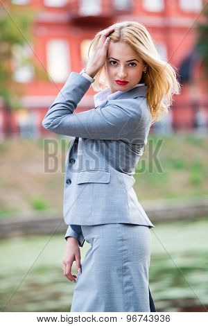 Business woman in the park