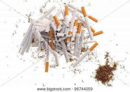 Heap of cigarettes and tobacco.