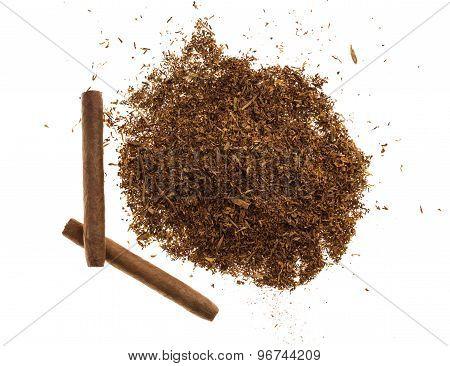 Heap of tobacco and cigars.
