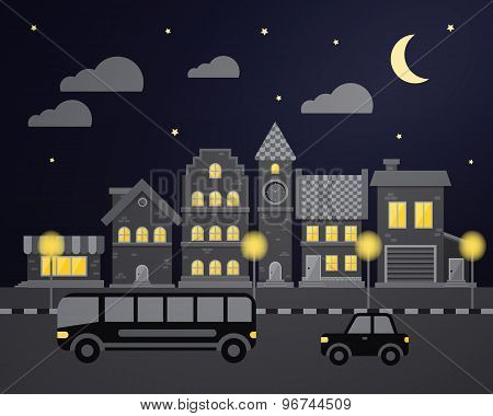 Flat city night with cars and houses