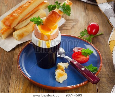 Soft Boiled Egg For Breakfast  Served With Bread Sticks