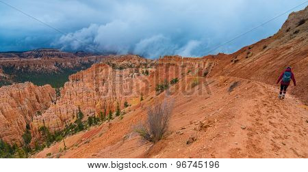 Girl Hiker On Peek-a-boo Loop Trail Bryce Canyon