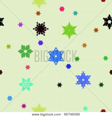 Winter pattern with various falling snowflakes.