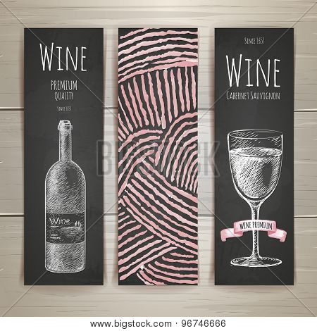 Set Of Art Wine Banners And Labels Design. Chalk Drawing
