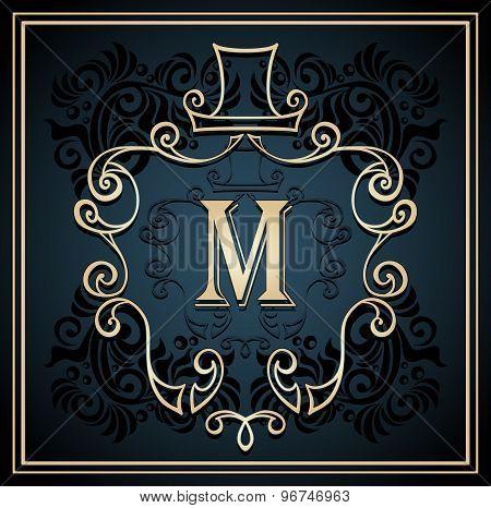 Monogram frame for men on black