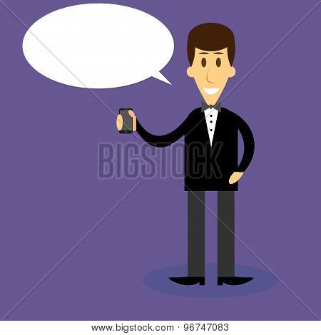 Man With Smartphone Bubble Speech