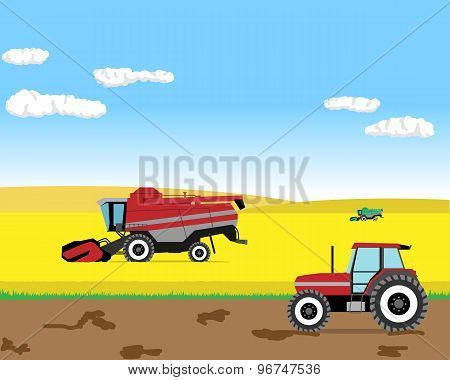 Harvesting the wheat field harvesters. Vector illustration