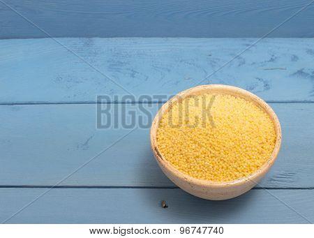 Millet Groats On The Blue Board
