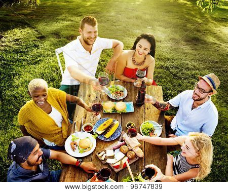 Diverse People Luncheon Food Garden Concept