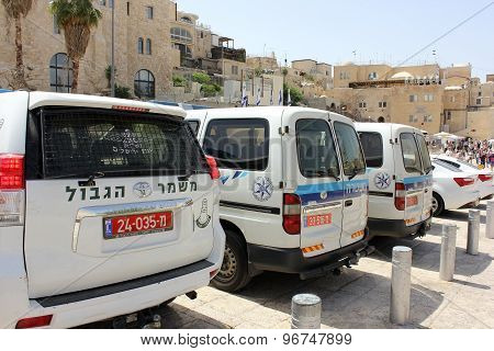 Police Cars At The Wailing Wall In Jerusalem