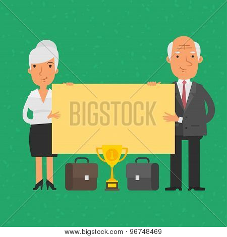 Old businessman and businesswoman holding blank poster