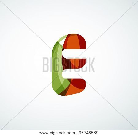 alphabet letter logo. Created with transparent colorful overlapping geometric shapes, waves and flowing shapes
