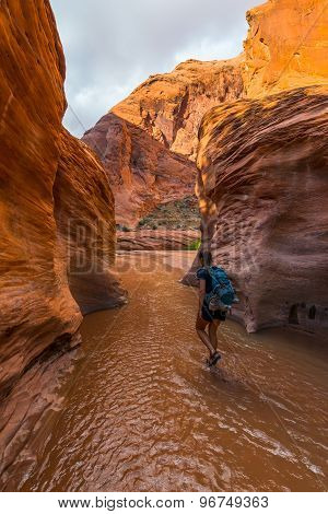 Walking Down Coyote Gulch Girl Hiker Backpacker In The Water,