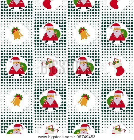 Seamless Christmas Pattern With Santa Claus, Bells And Gifts On Background Pixel