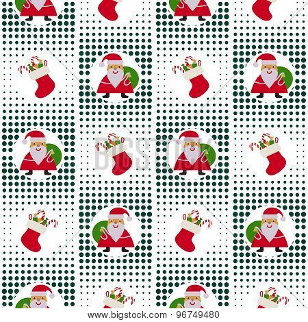 Seamless Christmas Pattern With Santa Claus And Gifts On Background Pixel
