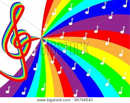 Treble clef on rainbow stave