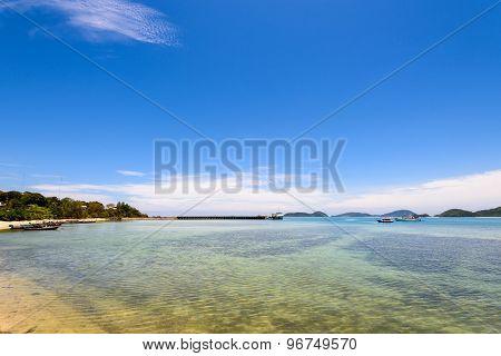 Sea Near Bridge Pier At Laem Panwa Cape In Phuket, Thailand