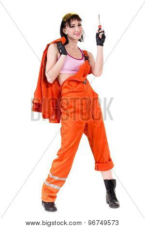 Young builder woman in uniform