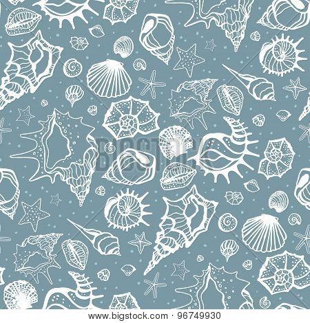 Seamless pattern of Sea shells.