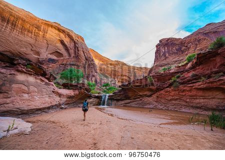 Girl Hiker Walking Towards The Waterfall Coyote Gulch Escalante