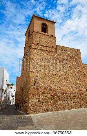 Mojacar Almeria Mediterranean church rear facade in Spain