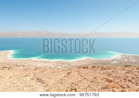 Exotic Landscape Dead Sea Shoreline Aerial View With Mountains Range