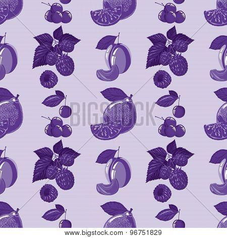 seamless pattern of lemon, raspberry, cherry and plum