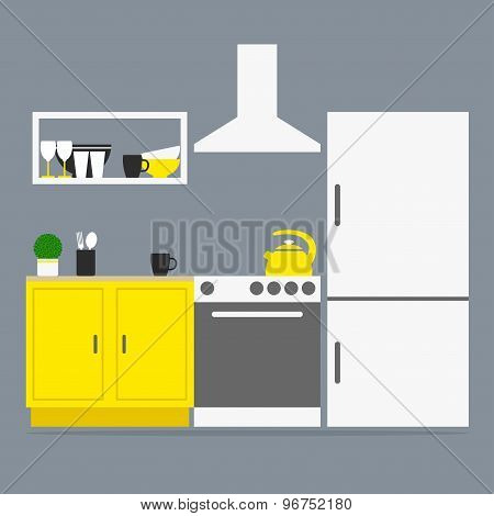 Kitchen interior. Kitchen isolated furniture and appliances on grey background.