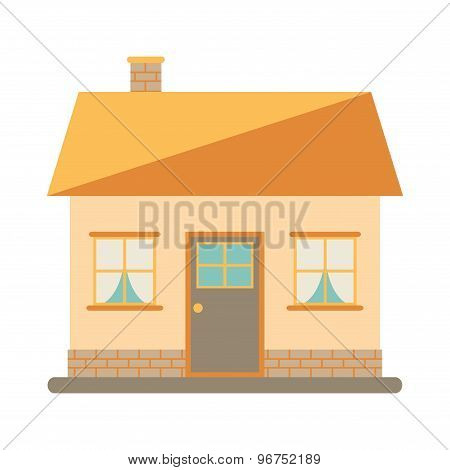 Little cute modern house for happy family. With chimney, roof, windows, door and brickwork.