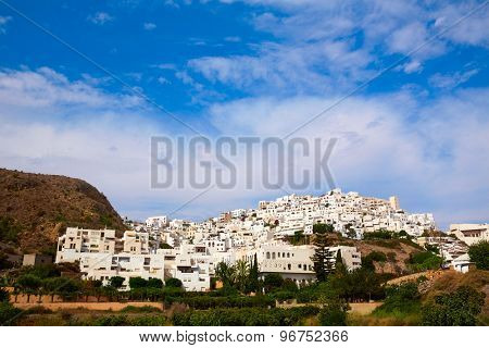 Mojacar in Almeria village skyline in Mediterranean Spain